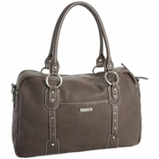 Storksak Elizabeth Leather Diaper Bag - Dove Grey
