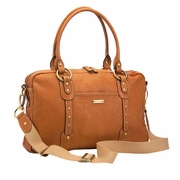 TEMPORARILY OUT OF STOCK Storksak Elizabeth Leather Diaper Bag -Tan