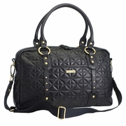 TEMPORARILY OUT OF STOCK Storksak Elizabeth Quilted Diaper Bag - Black Leather