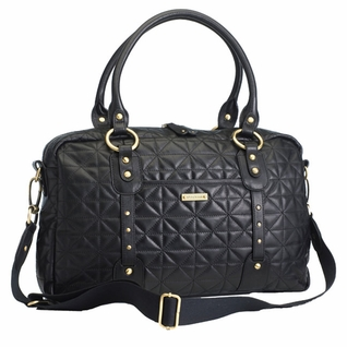 Storksak Elizabeth Quilted Diaper Bag - Black Leather