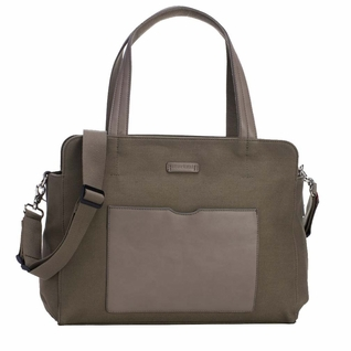 Storksak Juliette Coated Canvas Tote Diaper Bag - Moss