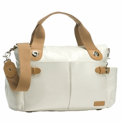 Storksak Kate Diaper Bag - Chalk Patent Leather