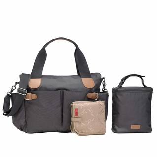 Storksak Kay Coated Canvas Diaper Bag Set - Grey