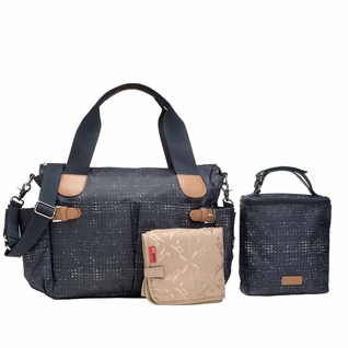Storksak Kay Coated Canvas Diaper Bag Set - Navy Crosshatch