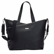 TEMPORARILY OUT OF STOCK Storksak Lucinda Tote Diaper Bag - Smooth Black Leather
