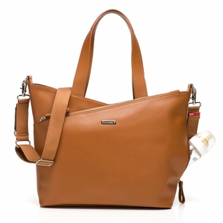 TEMPORARILY OUT OF STOCK Storksak Lucinda Tote Diaper Bag - Tan Textured Leather