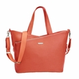 Storksak Lucinda Tote Diaper Bag - Sunset Orange Textured Leather