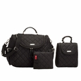 Storksak Poppy Quilted Backback Diaper Bag Set - Black