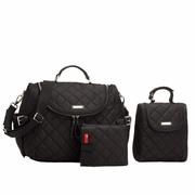 TEMPORARILY OUT OF STOCK Storksak Poppy Quilted Backback Diaper Bag Set - Black