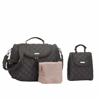 TEMPORARILY OUT OF STOCK Storksak Poppy Quilted Backback Diaper Bag Set - Charcoal Grey