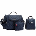 Storksak Poppy Quilted Backback Diaper Bag Set - Navy