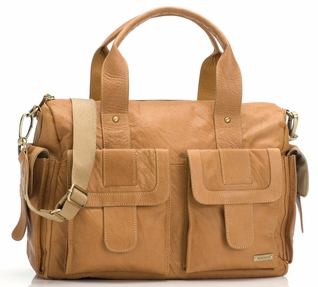 TEMPORARILY OUT OF STOCK Storksak Sofia Leather Diaper Bag - Tan