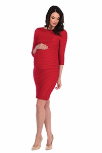 Tees By Tina 3/4 Sleeve Crinkle Dress