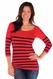 Tees By Tina 3/4 Sleeve Nautical Stripe Top