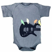 "TEMPORAILY OUT OF STOCK RuggedButts Gray ""Guitar Birds"" Knit One Piece"