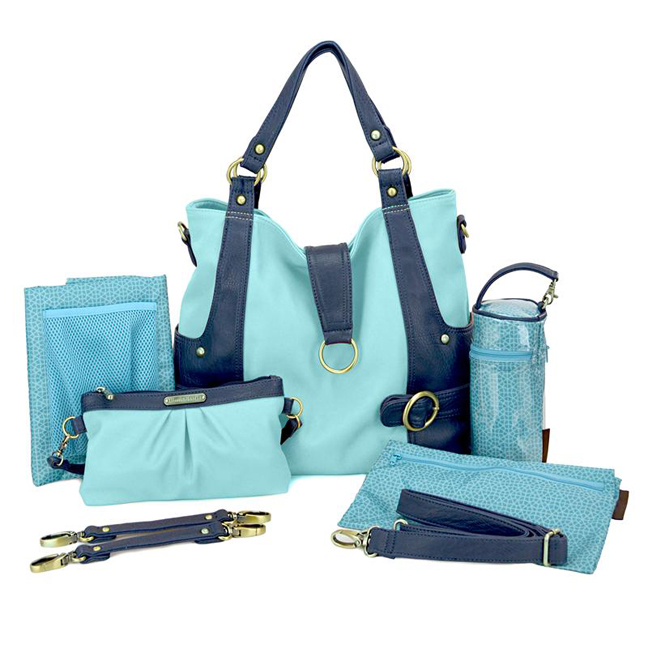 Timi And Leslie Hannah Tote Diaper Bag - Pastel BlueNavy