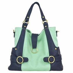 Timi And Leslie Hannah Tote Diaper Bag - Pastel Mint/Navy