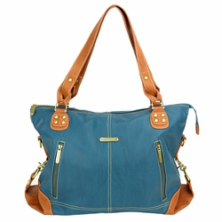 TEMPORARILY OUT OF STOCK  Timi And Leslie Kate Diaper Bag Tote - Teal/Saddle