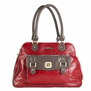 Timi And Leslie Sophia Satchel Diaper Bag - Cherry Red/Taupe