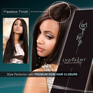 Indiremi Premium Virgin Remi Human Hair Straight Closure - Click to enlarge