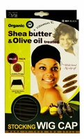 Qfitt Organic Shea Butter & Olive Oil Treated STOCKING WIG CAP (801 Black)
