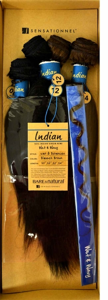 "Sensationnel Bare & Natural Indian Remi WET & BOHEMIAN (1 Pack Complete 10"",12"",12"",14"")"