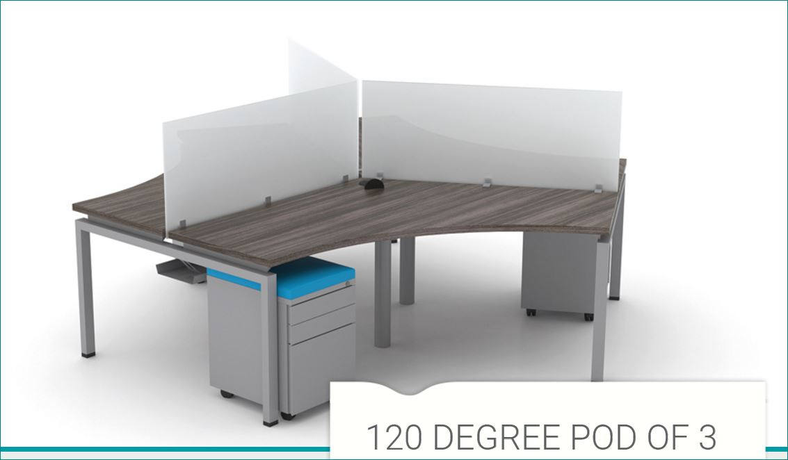 Fixed Height: Clear Design 120 Degree Pod of 3 Desk Furniture