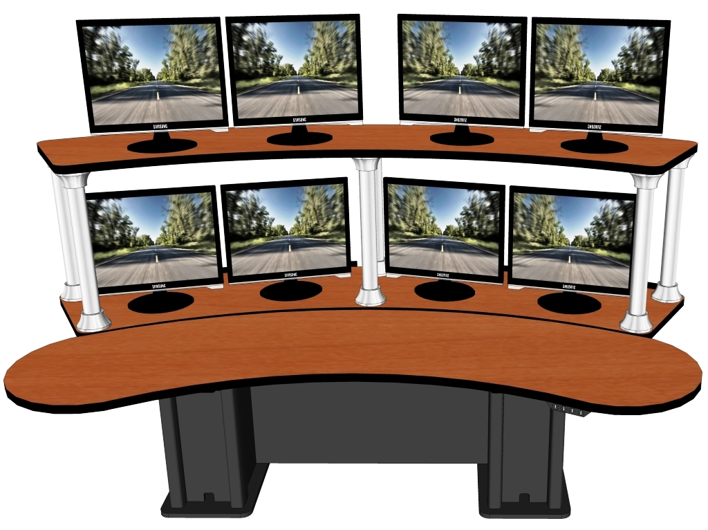 """Banana Split Dual Tier Control Room Console (104.25"""" x 53.5"""") 
