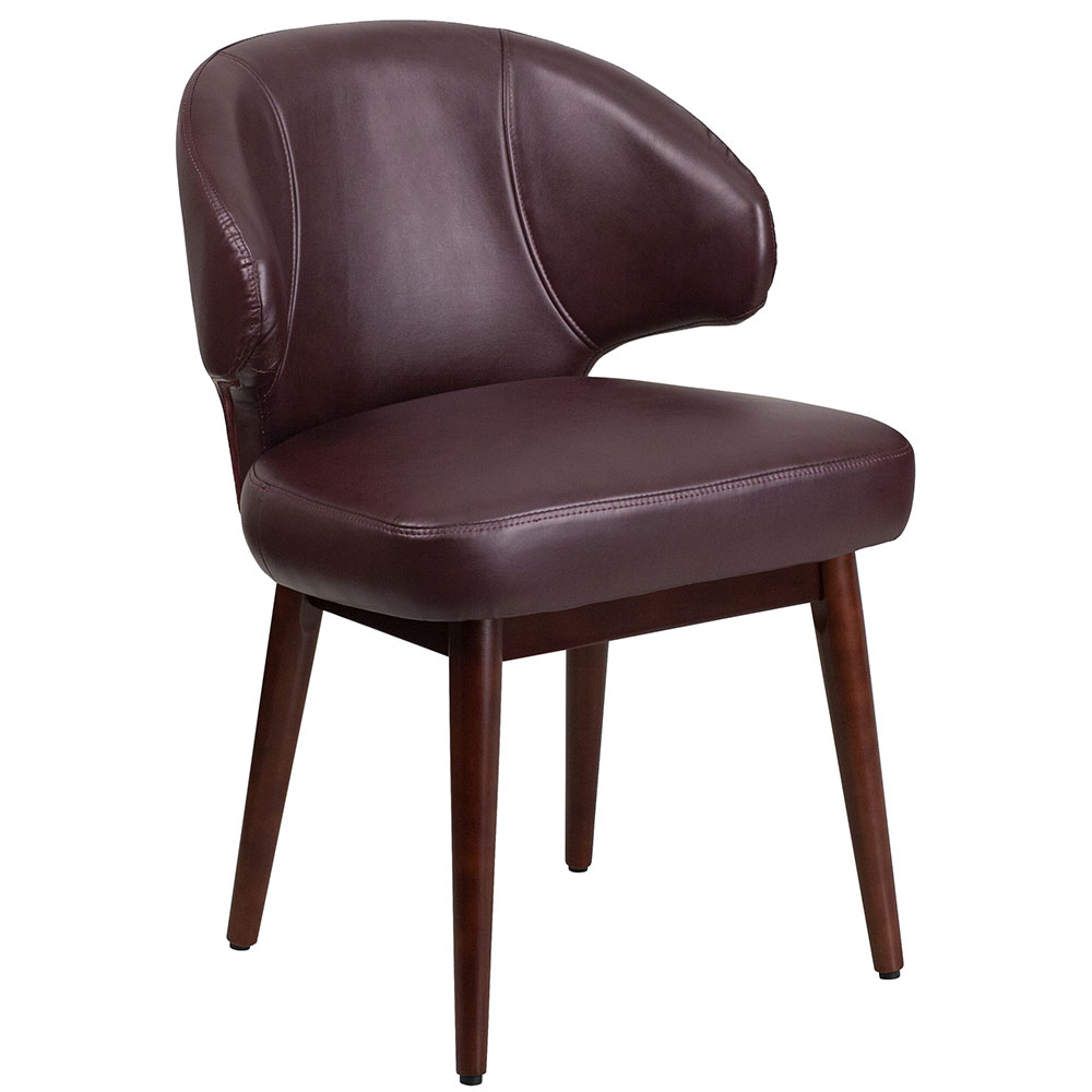 Comfort Back Series Burgundy Leather Reception-Lounge-Office Chair with Walnut Legs