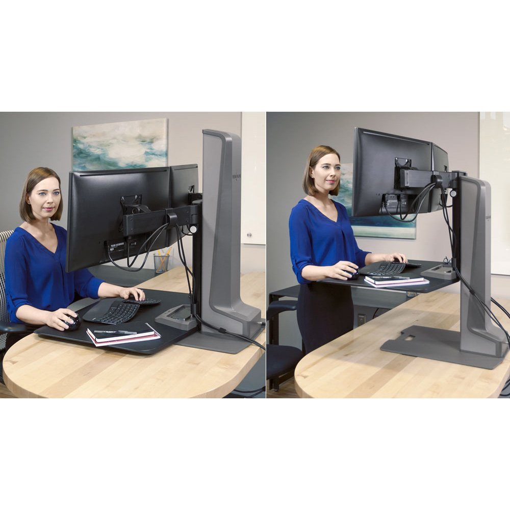 Dual Monitor Stand: Electric Motorized, Fixed and Height Adjustable