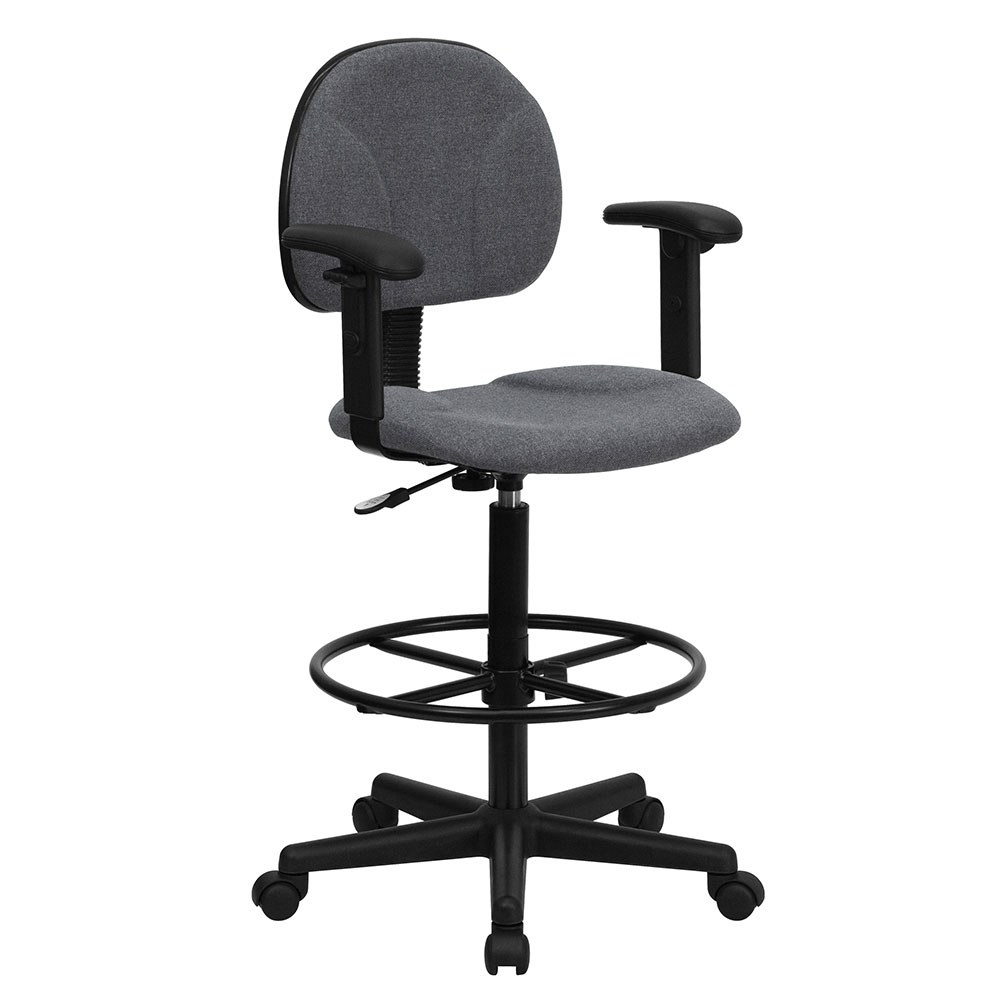 Ergonomic Home Gray Fabric Drafting Chair with Height Adjustable Arms (Adjustable Range 22.5''-27''H or 26''-30.5''H)