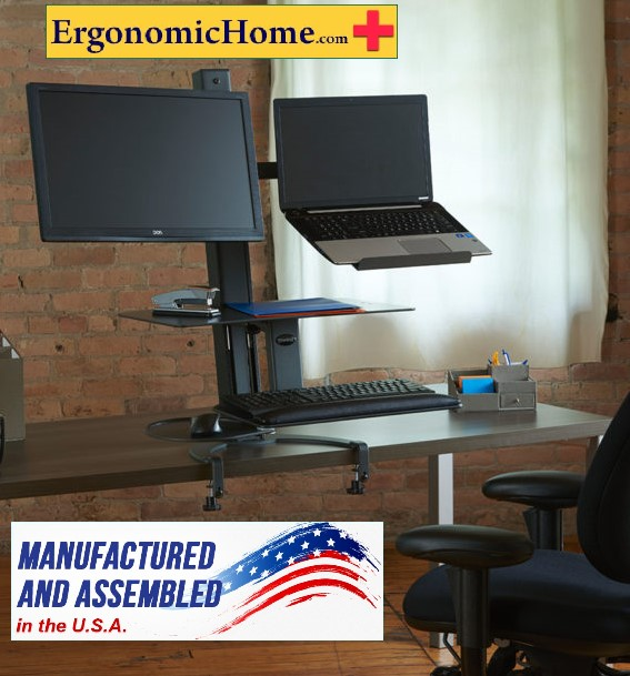 "Health Postures Go Laptop and Monitor Stand #6361 | Large Worksurface (15"" X 23"") Keyboard (13"" X 19"")"