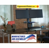 """Health Postures TaskMate Go Sit Stand Dual Monitor Stand with Large Work Surface #6351   Worksurface (15"""" X 23"""") Keyboard (13"""" X 19"""")"""