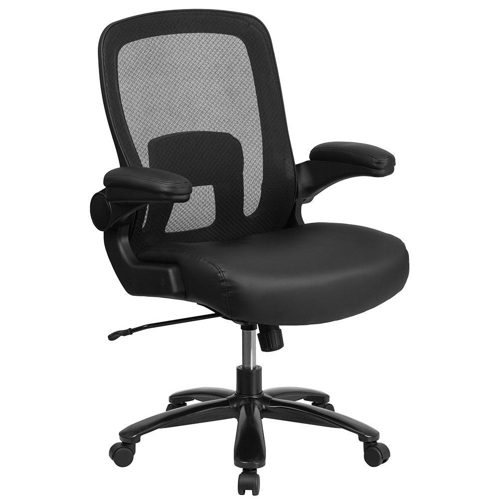 HERCULES Series 500 lb. Capacity Big & Tall Black Mesh Executive Swivel Chair with Leather Seat, Adjustable Lumbar and Flip-Up Arms