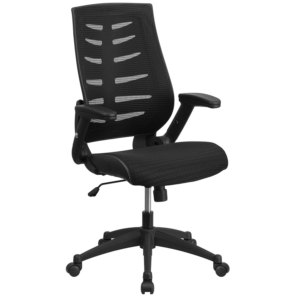 High Back Black Designer Mesh Executive Swivel Office Chair with Height Adjustable Flip-Up Arms