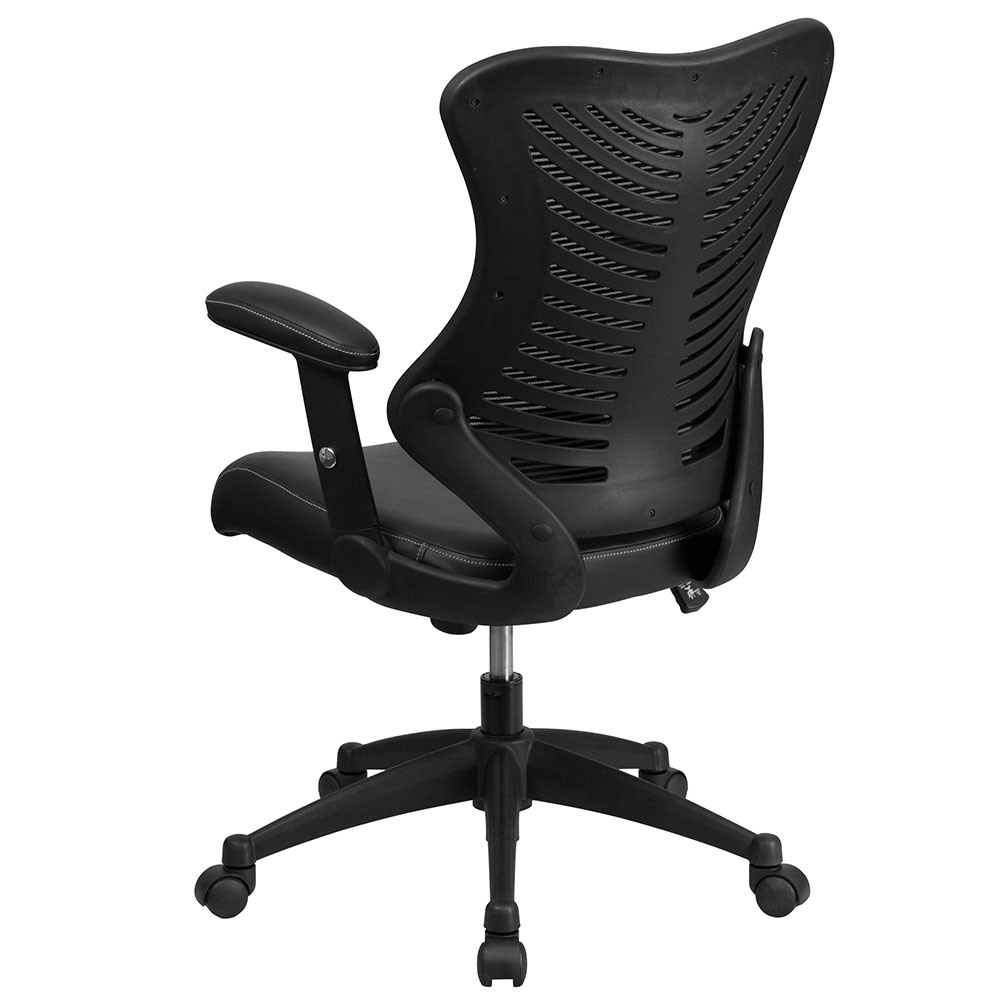 High Back Black Designer Mesh Executive Swivel Office Chair With Leather Padd