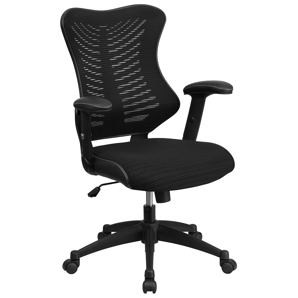 High Back Black Designer Mesh Executive Swivel Office Chair with Mesh Padded Seat