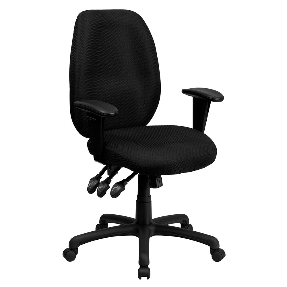 High Back Black Fabric Multi-Functional Ergonomic Executive Swivel Office Chair with Height Adjustable Arms