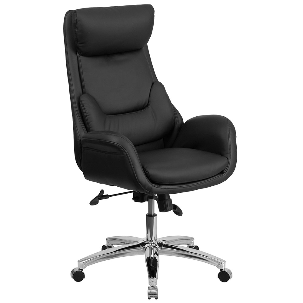 chairs high back black leather executive swivel office chair with