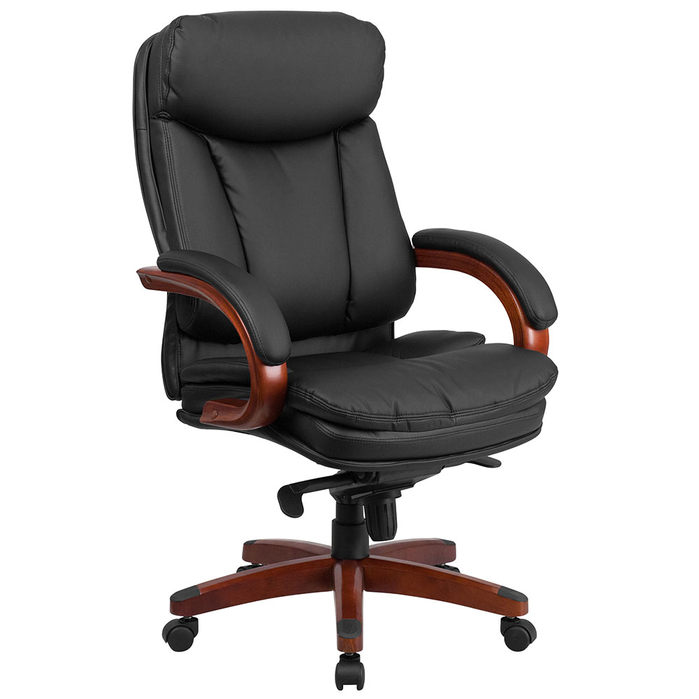 High Back Black Leather Executive Swivel Office Chair with Synchro-Tilt Mechanism and Mahogany Wood Base