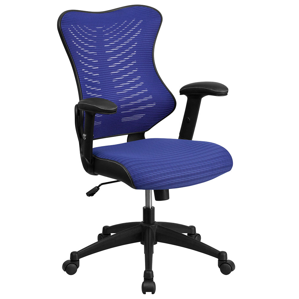 High Back Blue Designer Mesh Executive Swivel Office Chair  : high back blue designer mesh executive swivel office chair with mesh padded seat 1 from www.ergonomichome.com size 1000 x 1000 jpeg 95kB