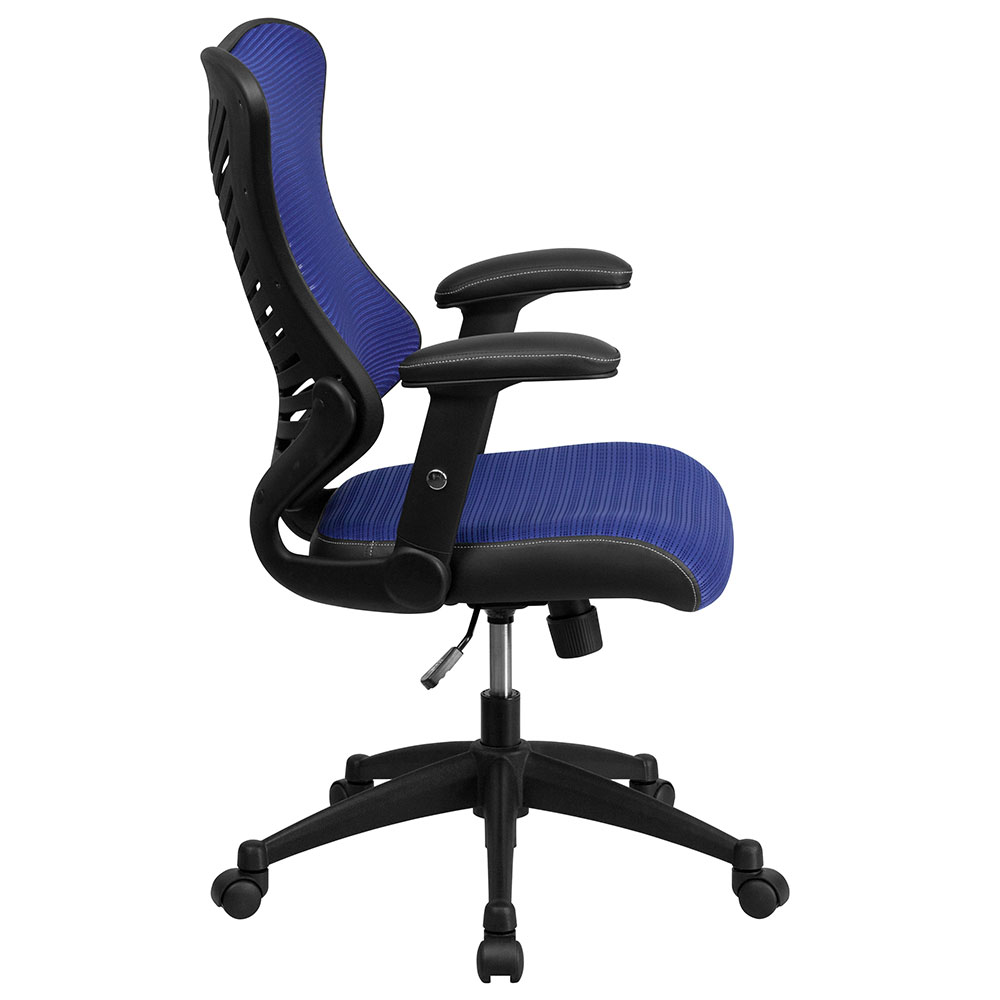 high back blue designer mesh executive swivel office chair with mesh