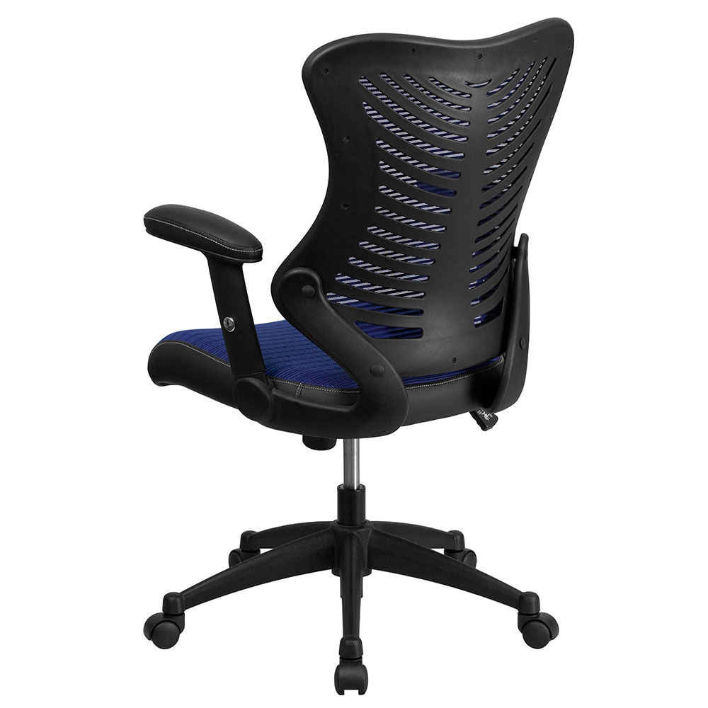 High Back Blue Designer Mesh Executive Swivel Office Chair With Mesh Padded Seat