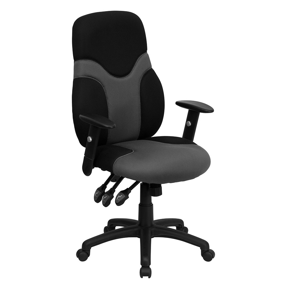 High Back Ergonomic Black and Gray Mesh Swivel Task Chair with Height Adjustable Arms