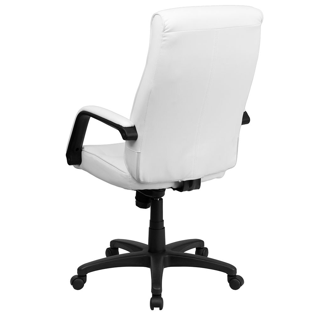 high back white leather executive swivel office chair with memory foam