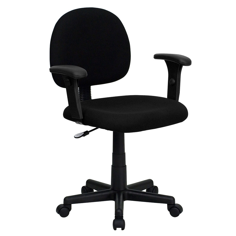 Low Back Ergonomic Black Fabric Swivel Task Chair with Height Adjustable Arms