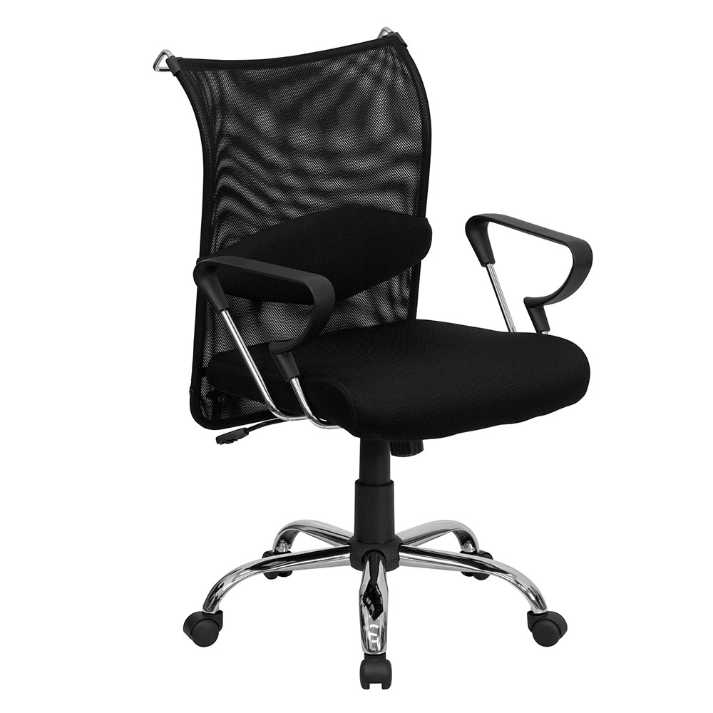 Mid-Back Black Mesh Swivel Manager's Chair with Adjustable Lumbar Support