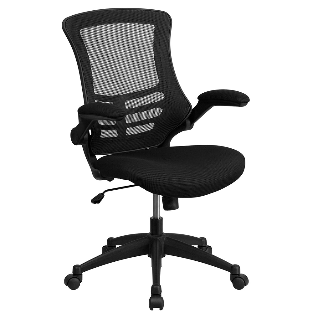 Mid-Back Black Mesh Swivel Task Chair with Mesh Padded Seat and Flip-Up Arms