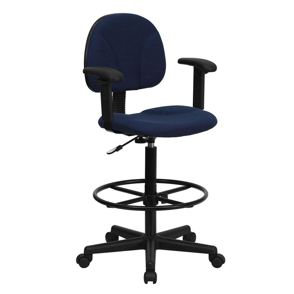 Navy Blue Patterned Fabric Ergonomic Drafting Chair with Height Adjustable Arms (Adjustable Range 22.5''-27''H or 26''-30.5''H)