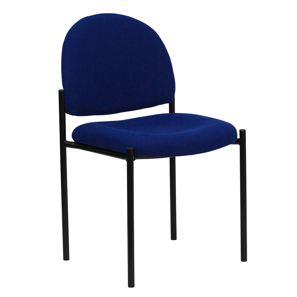 Navy Fabric Comfortable Stackable Steel Side Chair